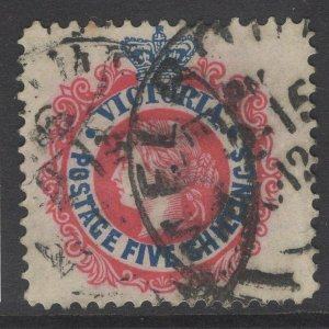 VICTORIA SG398a 1901 5/= SCARLET & DEEP BLUE USED