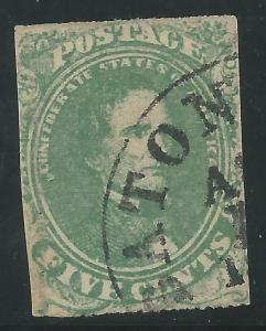 CSA Scott #1 Stone 2 Used Confederate Stamp Baton Rouge, LA Ex-Wilson Hulme