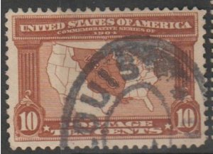 U.S. Scott #327 Map - Louisiana Purchase Stamp - Used Single