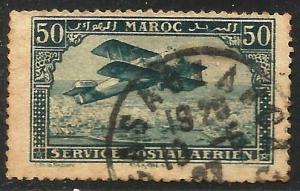 French Morocco Air Mail 1922 Scott# C3 Used (toning)