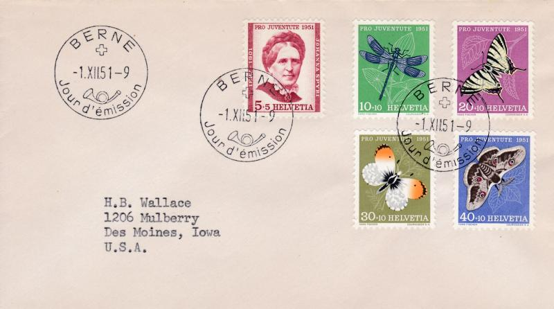 Switzerland 1951 Pro Juventute Complete (5) First Day Cover Typed Address USA