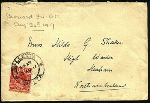 MALTA 1917 cover Valetta to UK.............................................30403