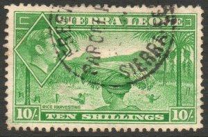 SIERRA LEONE-1938 10/- Emerald-Green Sg 199 GOOD USED V46464