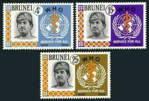 Brunei 150-152,MNH.Michel 142-144. WHO,20th Ann.Sultan Hassanal Bolkiah.