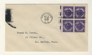 US - 1946 - Scott 940 FDC 3c Honorable discharge (No Cachet) Block of 4