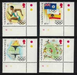 Montserrat Summer Olympic Games Barcelona 4v Corners 1992 MNH SG#876-879
