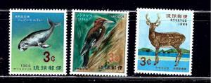 Ryukyu Is 140-42 MNH 1966 Wildlife