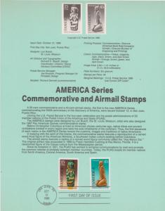 FINAL REDUCTION!!  1989 AMERICAN SERIES AIRMAIL FDC SOUVENIR PAGE