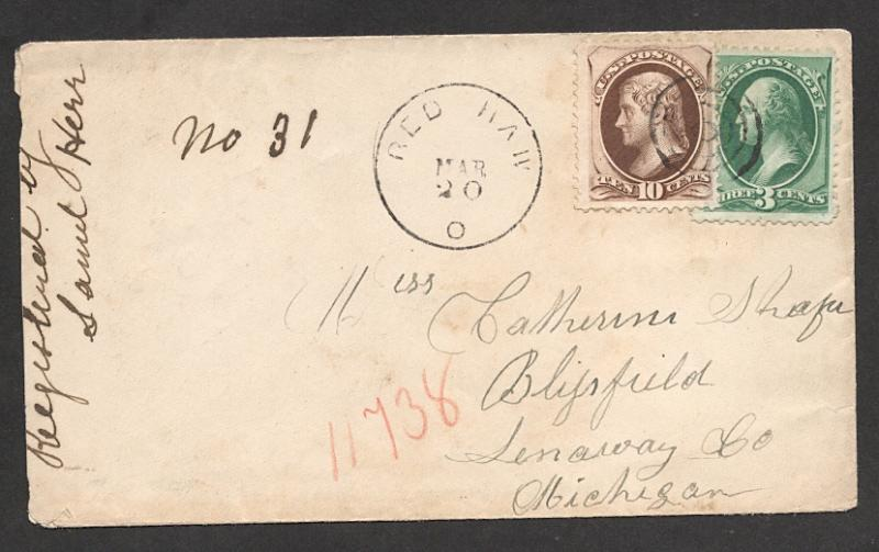 US#161 & #158 - On Early Cover from Red Haw, Ohio