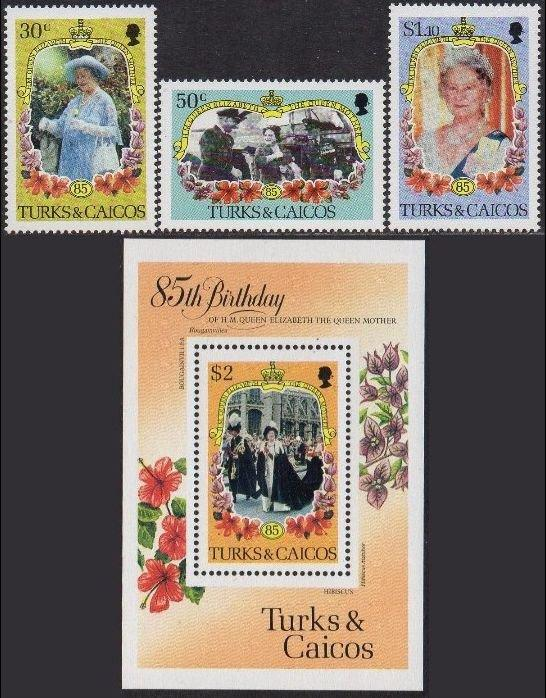 Turks & Caicos Islands 1985 85th B'day of Queen Elizabeth the Queen Mother MNH