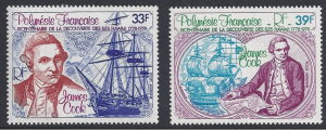 French Polynesia #C154-5, MNH set, Capt. Cook & ships, issued 1978