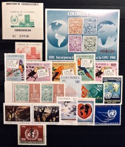 Columbia & etc: Lot MNH Stamps & Sheets