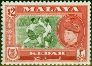 Kedah 1957 $2 Bronze-Green & Scarlet SG101 Fine Mtd Mint