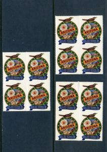 12 VINTAGE 1962-1963 ARIZONA COLORFUL CENTENNIAL POSTER STAMPS (L519)