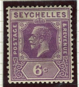 SEYCHELLES; 1922 early GV issue fine Mint hinged Shade of 6c. value