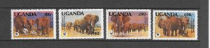 UGANDA #948-51  ELEPHANTS  WWF   MNH