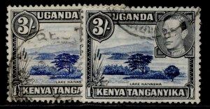 KENYA UGANDA TANGANYIKA GVI SG147 + 147a, 3s SHADE VARIETIES, FINE USED. Cat £26