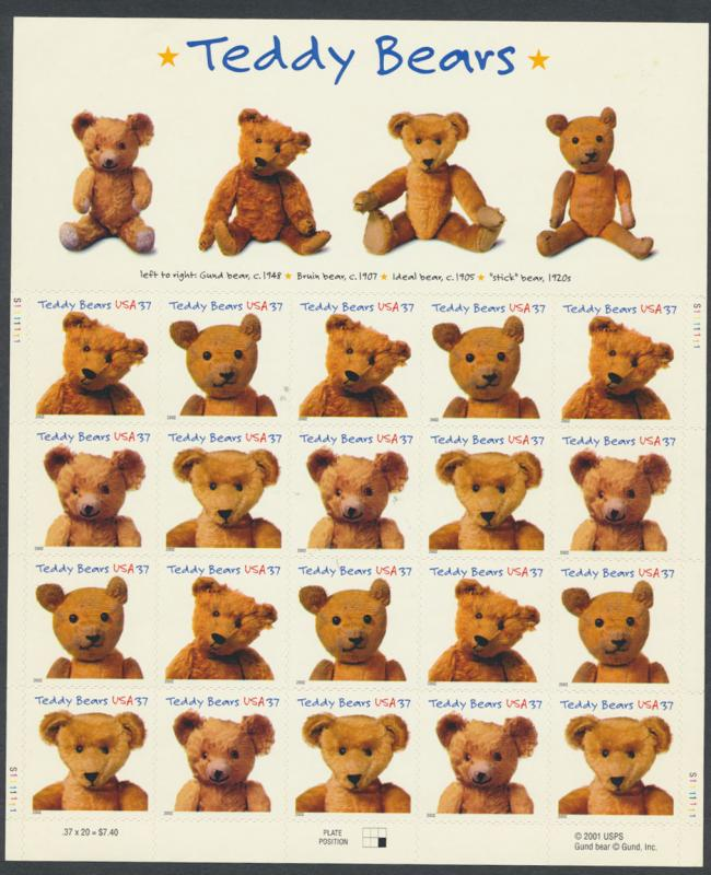 US Scott 3656 -Teddy Bear Sheet of 20 stamps Mint as issued Self adhesive