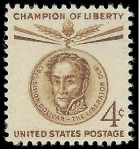 #1110 4c Champion Of Liberty Simon Bolivar 1958 Mint NH