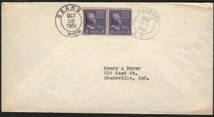 1951 Sears MI & Roebuck SC cancels Sc 842 line pair