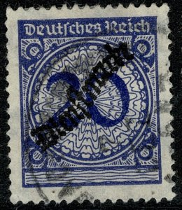 GERMANY 1923 20pf BLUE OFFICIAL GOLD CURRENCY USED (VFU) SG O361 P.14 VF/XF