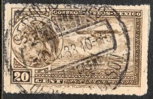 MEXICO C23, 20c COAT OF ARMS AND AIRPLANE. USED. F-VF. (127)