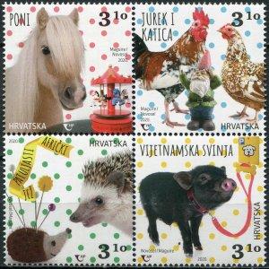 Croatia 2020. Children's World. Pets (MNH OG) Block of 4 stamps
