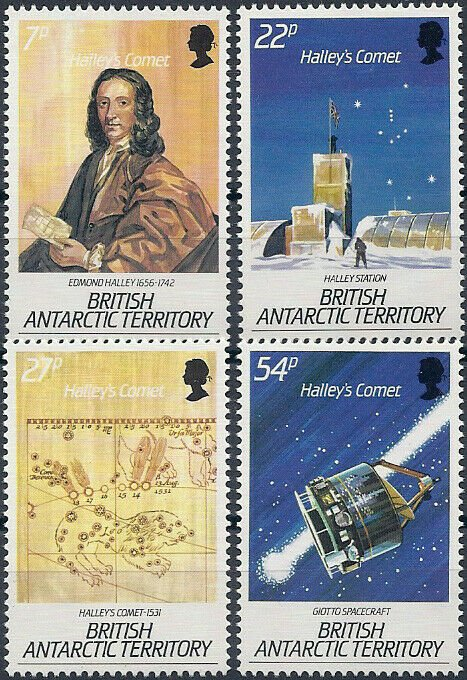 1986 British Antarctic Territory Halley`s Comet, complete set VF/MNH, CAT 13$