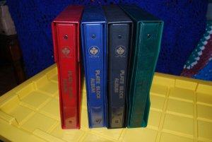 4 UNI-SAFE PLATE BLOCK ALBUMS with SLIP CASES and PAGES
