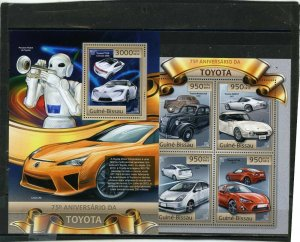 GUINEA BISSAU 2012 CARS/TOYOTA SHEET OF 4 STAMPS & S/S MNH