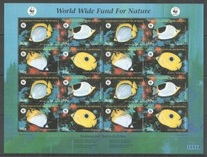 PK095 MICRONESIA WWF MARINE LIFE BUTTERFLYFISH 1SH MNH STAMPS