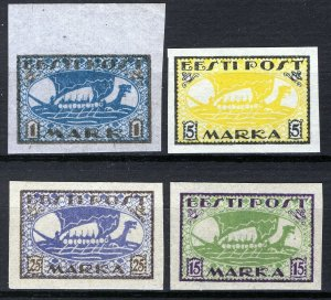Estonia 1919-20, Vikingships, Mi 12y,13x, 23B, 24B, All MNH Cat +34,5€ (E10001)