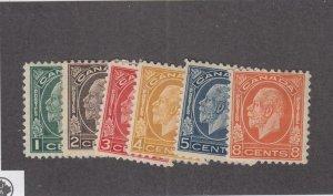 CANADA (MK4026) # 195-200 VF-MH  1-5,8cts 1932 KGV MEDALLION SET CAT VALUE $148