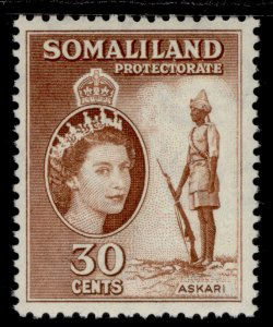 SOMALILAND PROTECTORATE QEII SG141, 30c reddish brown, M MINT.