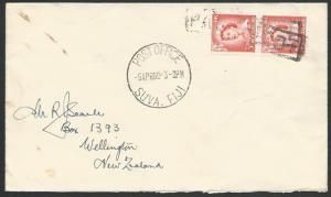 FIJI 1960 cover, New Zealand 3d(2) boxed PAQUEBOT & Suva cds...............25715