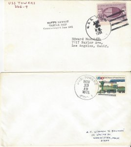 US Naval Cover USS Towers  DDG 9  1961 Commissioned, 1975