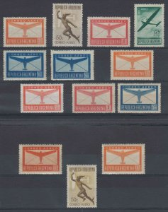 ARGENTINA 1940-51 PLANE & MERCURY GROUP OF 14 SINGLES WTMK & UNWTMKD HINGED MINT