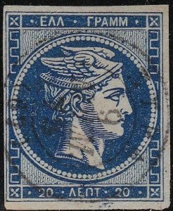 1861-62 Greece/ Greece, N° 14Aa 20 Lepta Blue Dark Used Digit To Verso