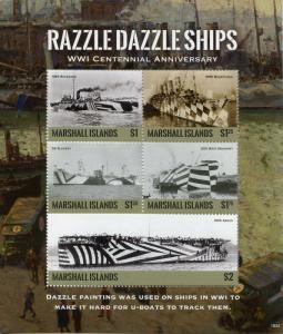 Marshall Islands Military Stamps 2018 MNH WWI WW1 Razzle Dazzle Ships 5v M/S I