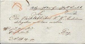 Czech Republic Stampless Cover - Benatek to Prague - 1836
