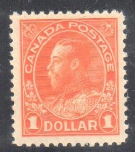 CANADA #122 MINT OG VF NH  *Admiral 1$ Orange Dry Printing C$450.00*