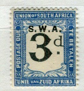 SOUTH WEST AFRICA; 1923 early Postage Due issue Mint hinged 3d. value