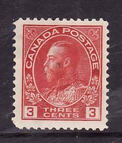 Canada-Sc#109- id2-unused hinged o.g.3c carmine KGV Admiral -1923-