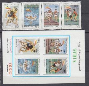 Z3950, 1992 syria set strip/4 + s/s mnh #1275-6 sports
