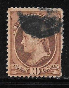 USA 209: 10c Jefferson, used, F, Fault