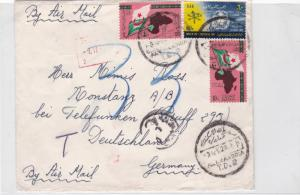 egypt to germany  1962 multi stamps air mail cover  ref r16037