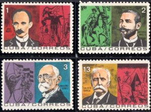 CUBA Sc# 908-911  HEROES OF THE WAR OF INDEPENDENCE  Cpl set of 4    1964  MNH