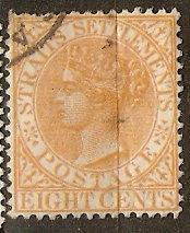 Straits Settlements 13M SG Malaya 18 Used VF 1867 SCV $10.00