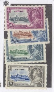 CEYLON # 260-263 VF-MH   KING GEORGE V SILVER JUBILEE SET /1935 CAT VAL $13