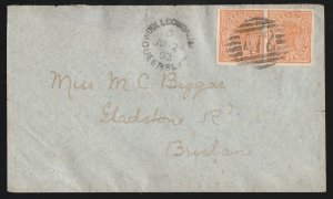 QUEENSLAND : 1890 QV 1d solid background, IMPERF pair, on cover SG cat £4875!